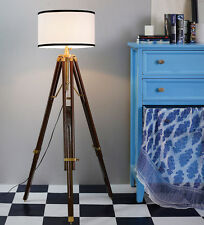 Authentic Designer's Spotlight Brass Floor Lamp With Wooden Tripod Stand