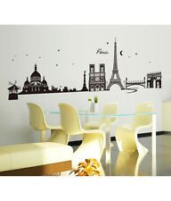 Wall Stickers City Skyline Paris Eiffel Tower Silhouette Black Border Design