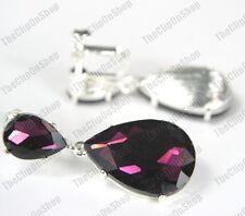 Clip en 4cm Big Cristal Gotas Pendientes de Cristal Plateado Plata Brillante Púrpura Oscuro