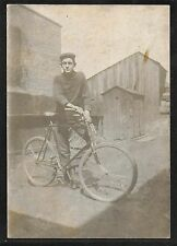 Nice Cabinet Photograph of a young Mag with his Bicycle by AA Besaw Akron OH