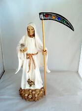 14 Inch Statue of La Santa Muerte Blanca Holy Death Grim Reaper White Imagen