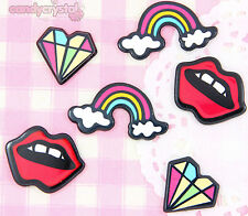 6 x Lips, Rainbow & Diamonds Cabochon Embellishments Kawaii Craft Deco