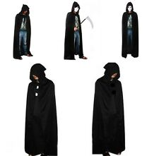 Men Women Cloak Coat Halloween Custume Party Tippet Cape Hoody Hooded Black LH