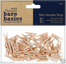 Docrafts Papermania wood craft embellishments pk50 Bare basics mini wooden pegs