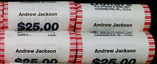 4x 2008 ANDREW JACKSON Dollar Presidential 25 Coin Uncirculated Mint String Roll