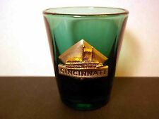 Souvenir shot glass Cincinatti pewter logo gold paddle steamer