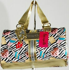 Betsey Johnson Purse Bag Betseyville Black Barrel Johnson's Zebra Print New