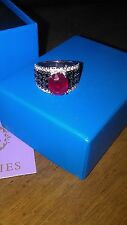 Rarities Carol Brodie 3.90ctw Oval ruby,  Black Spinel And  White zirkon sz 4.5