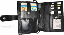 Men's Genuine Leather Fashion Business Wrist Clutch Bag Organizer Black Bag BNWT