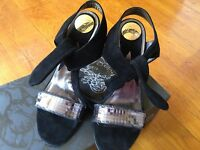 New Miss Sixty Stilettos Sandals Black Suede Heels EU40