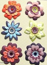 K & CO / COMPANY 3-D GEMSTONE EMBELLISHMENTS 151079 MARMALADE PAPER FLOWER BRADS