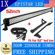 "300W 52"" LED Light Bar+ Mounting Bracket For Jeep JK Wrangler+Wiring Kit Offroad"