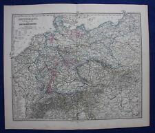 GERMANY, DEUTSCHLAND REICHS, GERMAN KINGDOMS original antique map, Stieler 1880