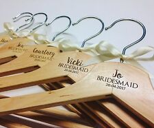 7x Personalised Wooden Bridal Hangers - Bridesmaid/Wedding Dress/Hangers/Gift
