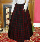 Ladies Victorian skirt green and burgundyt tartan costume fancy dress Hogmanay