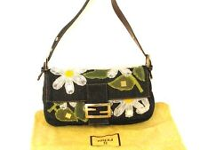 authentic Fendi Denim Tulle Daisy Baguette Shoulder Bag