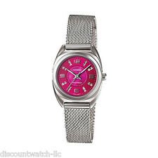 Casio LTP1363D-4A Ladies Mesh Petit Stainless Steel Dress PINK Mother of PEARL