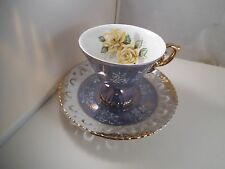 Vintage Royal Sealy Japan Iridescent Pedestal Teacup Tea Cup & Saucer Blue