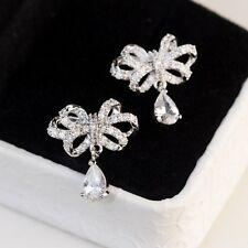 Boucles d`Oreilles Clous Argenté Cristal Fin Noeud Papillon CZ Goutte Vintage G1