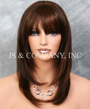 100% HUMAN HAIR NEW STRAIGHT Brown Auburn Mix WIG W. Bangs IHGP 4-30