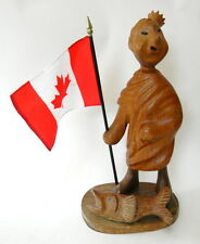 Wooden Figurine Statue Italy Crowned Man in Toga w Fish Canada Flag Vintage 11in