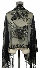Handmade Lace Sheer Oblong Scarf Shawl Wrap w Sequin Floral Art Pattern, Black 4