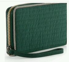 KIPLING Large OLVIE WRISTLET QUILTED GLITTER GREEN PURSE WALLET RRP £45