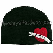 Crochet Wool Mom Tattoo Hat: knit black beanie red heart ink geek winter ski