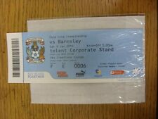 09/01/2010 BIGLIETTO: COVENTRY CITY V Barnsley (SKY Creations Lounge). se non Prev