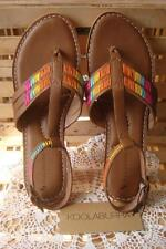 NIB~KOOLABURRA RULU ~BROWN LEATHER W/MULTI COLOR DESIGN SANDALS ~ANKLE STRAP ~8M
