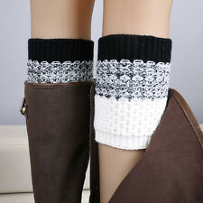 New Women Lady Winter Crochet Boot Cuffs Jacquard Knitted Boot Socks Leg Warmers