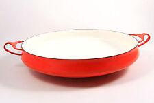 VTG Dansk Quistgaard Kobenstyle Enamel Paella Pan Flame Orange Red 1950s Denmark