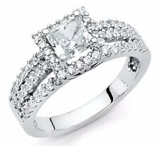 2.00 CT Princess Cut Sterling Silver Platinum Diamond Solitaire Engagement Ring
