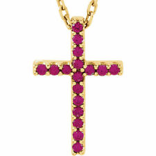 """Ruby Cross 16"""" Necklace In 14K Yellow Gold"""