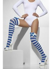 Blue & White Striped Ladies Hold Ups Sailors Fancy Dress Accessory