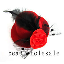 1Pc Red Mini Top Feather Hat Fascinator Hair Clip Party Costume Hair Accessories