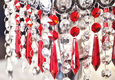 5 Red Chandelier Glass Crystal Lamp Prisms Parts Hanging Drops Pendants 55mm
