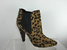 Dolce Vita Womens Black Off Beige Cheetah Textured Ankle Boots 10