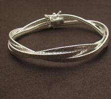 """7.5"""" Italian Twisted Triple Omega Chain Bracelet Solid Real 925 Sterling Silver"""