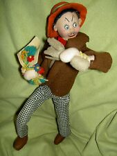 KLUMPE labeled comical suitor w/flowers felt doll figure Effanbee 1950s imported