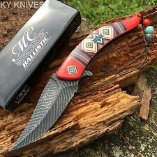 Native American Indian Spring Assisted Open Pocket Knife Damascus Style MCA023RD