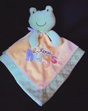 Carters I Love Hugs Frog Security Blanket Yellow Dot Green Baby Rattle Satin