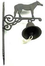 CAST IRON-  Horse  BELL Mounted Rustic Brown Lodge Western Decor