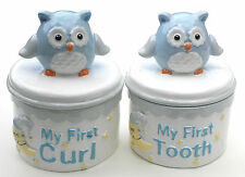 Set of Owls Baby's First Tooth & First Curl Blue Trinket Boxes