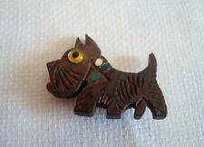 Vtg. Wood Wooden Scottie Dog Terrier Pin Brooch With Glass Eye 1 1/4 x 1 5/8 In