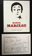 MARCEL MARCEAU - ACTOR & MIME ARTIST - EXCELLENT SIGNED ENVELOPE & THEATRE FLYER