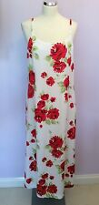 VINTAGE LAURA ASHLEY Red & WHITE FLORAL PRINT DRESS SIZE 18