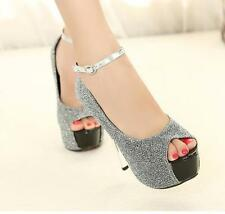 Fashion Women's Platform Sequins Open Toe Ankle Straps High Heel Stiletto Shoes