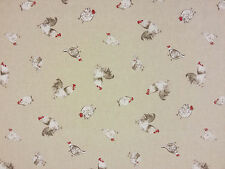 CHICKEN COOP LINEN T52 CURTAIN BLIND DRESSMAKING CRAFT FABRIC FARMYARD FUN