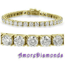 6 ct G VS round natural ideal cut diamond square box tennis bracelet yellow gold